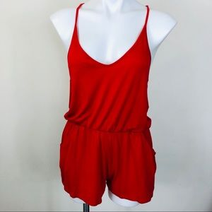 Rolla Coaster Red Romper W/ Pockets Size Large